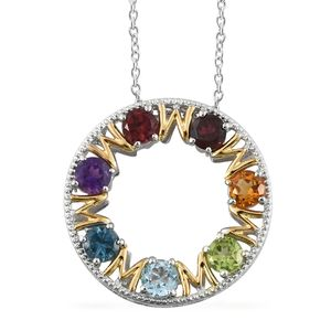 GP Multi Gemstone 14K YG and Platinum Over Sterling Silver Mom Pendant With Chain (20 in) TGW 4.02 cts.