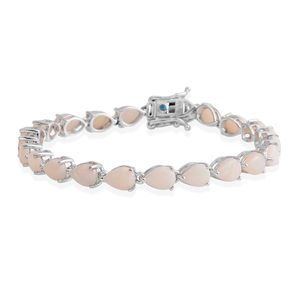 Australian White Opal, Neon Apatite Platinum Over Sterling Silver Bracelet (7.00 In) TGW 9.28 cts.