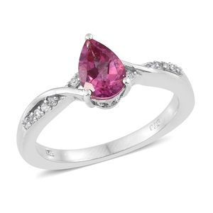 Pure Pink Mystic Topaz, Multi Gemstone Platinum Over Sterling Silver Ring (Size 10.0) TGW 1.65 cts.