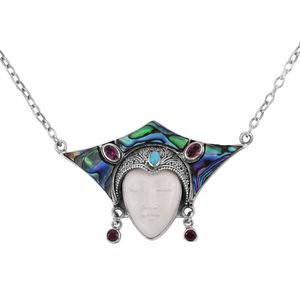Bali Goddess Collection Carved Bone, Multi Gemstone Sterling Silver Necklace With Chain (18 in) TGW 19.13 cts.