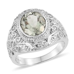 Green Amethyst Stainless Steel Ring (Size 8.0) TGW 3.25 cts.