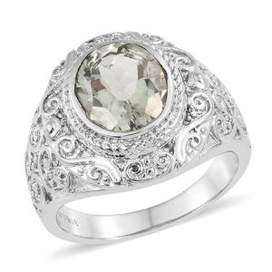 Green Amethyst Stainless Steel Ring (Size 9.0) TGW 3.25 cts.