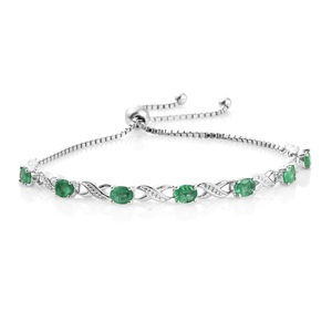 Brazilian Emerald Platinum Over Sterling Silver Infinity Station Bolo Bracelet (Adjustable) TGW 2.25 cts.