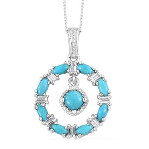 Arizona Sleeping Beauty Turquoise, White Topaz Platinum Over Sterling Silver Pendant With Chain (20 in) TGW 1.64 cts.