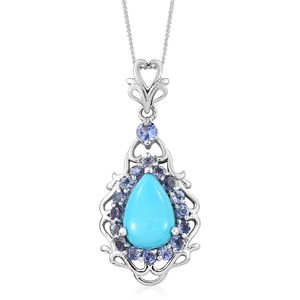 Arizona Sleeping Beauty Turquoise, Tanzanite Platinum Over Sterling Silver Pendant With Chain (20 in) TGW 3.80 cts.