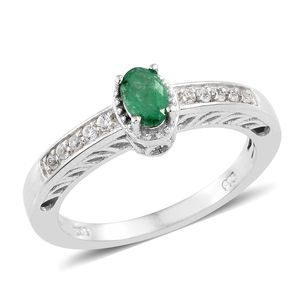 Brazilian Emerald, Cambodian Zircon Platinum Over Sterling Silver Ring (Size 7.0) TGW 0.70 cts.