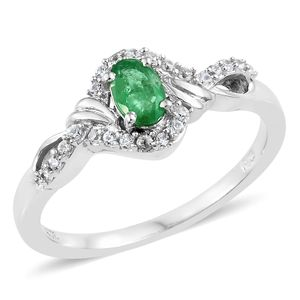 Brazilian Emerald, Cambodian Zircon Platinum Over Sterling Silver Ring (Size 7.0) TGW 0.75 cts.