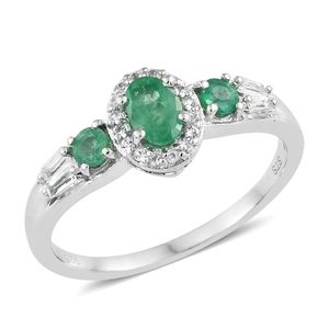 Brazilian Emerald, White Topaz Platinum Over Sterling Silver Ring (Size 5.0) TGW 1.08 cts.
