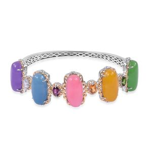 Burmese Multi Color Jade 14K YG Over and Sterling Silver Bangle (8 in) TGW 57.50 cts.