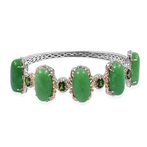 Burmese Green Jade, Russian Diopside 14K YG Over and Sterling Silver Bangle (7.25 in) TGW 58.50 cts.