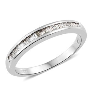 Natural Champagne Diamond Platinum Over Sterling Silver Ring (Size 7.0) TDiaWt 0.25 cts, TGW 0.25 cts.