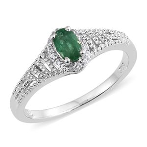 Brazilian Emerald, Cambodian Zircon Platinum Over Sterling Silver Ring (Size 6.0) TGW 0.58 cts.