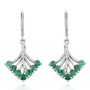 Brazilian Emerald Platinum Over Sterling Silver Earrings TGW 1.540 Cts. TGW 1.54 Cts.