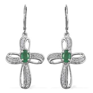 Brazilian Emerald, Cambodian Zircon Platinum Over Sterling Silver Infinity Cross Lever Back Earrings TGW 1.67 cts.