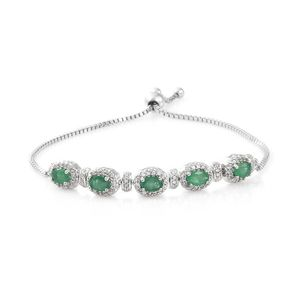 Brazilian Emerald, Cambodian Zircon Platinum Over Sterling Silver Magic Ball Bracelet (Adjustable) TGW 3.31 cts.