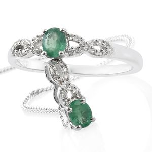 Brazilian Emerald, Cambodian Zircon Platinum Over Sterling Silver Ring (Size 7) and Pendant With Chain (20 in) TGW 0.90 cts.