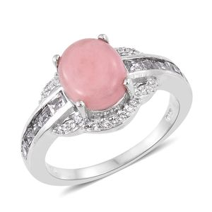 Dan's Collector Deal Peruvian Pink Opal, White Topaz Platinum Over Sterling Silver Ring (Size 10.0) TGW 4.14 cts.