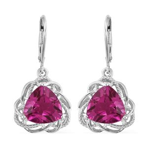 Radiant Orchid Quartz Platinum Over Sterling Silver Lever Back Earrings TGW 7.60 cts.