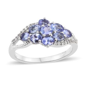 Tanzanite, Cambodian Zircon Platinum Over Sterling Silver Ring (Size 5.0) TGW 2.08 cts.