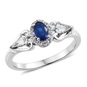 Blue Spinel, White Topaz Platinum Over Sterling Silver Ring (Size 8.0) TGW 1.10 cts.