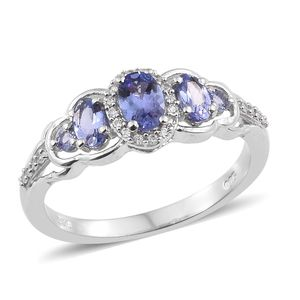 Tanzanite, Cambodian Zircon Platinum Over Sterling Silver Ring (Size 5.0) TGW 1.14 cts.