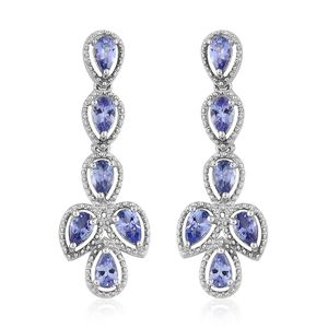 Tanzanite Platinum Over Sterling Silver Earrings TGW 2.50 cts.