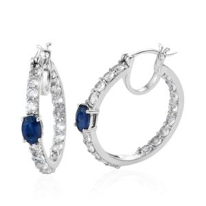 Blue Spinel, White Topaz Platinum Over Sterling Silver Inside Out Hoop Earrings TGW 6.34 cts.