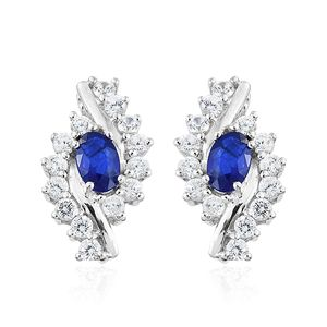 Blue Spinel, Cambodian Zircon Platinum Over Sterling Silver Swirl Bypass Earrings TGW 2.40 cts.