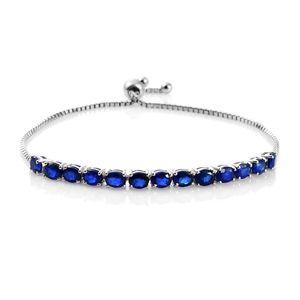 Blue Spinel Platinum Over Sterling Silver Bolo Bracelet (Adjustable) (9.50 In) TGW 5.00 cts.