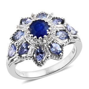 Blue Spinel, Multi Gemstone Platinum Over Sterling Silver Flower Ring (Size 7.0) TGW 3.29 cts.