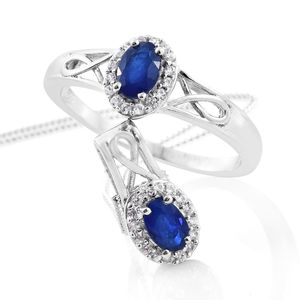 Blue Spinel, Cambodian Zircon Platinum Over Sterling Silver Ring (Size 5) and Pendant With Chain (20 in) TGW 1.35 cts.