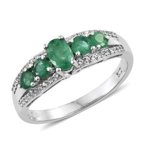 Brazilian Emerald, Cambodian Zircon Platinum Over Sterling Silver Ring (Size 5.0) TGW 1.29 cts.