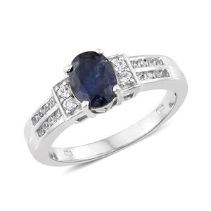 Masoala Sapphire, Cambodian Zircon Platinum Over Sterling Silver Ring (Size 5.0) TGW 2.81 cts.
