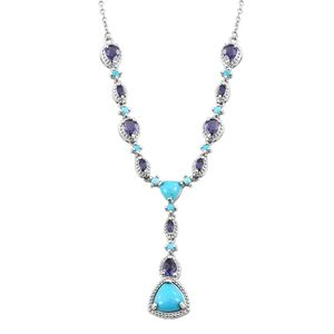 Arizona Sleeping Beauty Turquoise, Catalina Iolite Platinum Over Sterling Silver Necklace (18-20 in) TGW 4.21 cts.