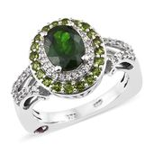 Russian Diopside, Multi Gemstone Platinum Over Sterling Silver  Ring (Size 7.0) TGW 2.90 cts.