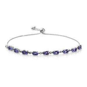 Customer Appreciation Day Tanzanite Platinum Over Sterling Silver Magic Ball Bracelet (9.50 In) (Adjustable) TGW 2.30 cts.