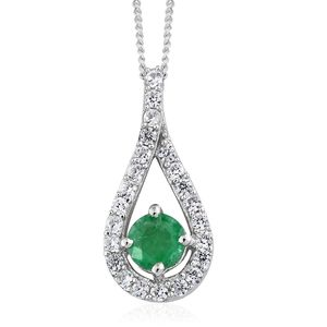 Brazilian Emerald, Cambodian Zircon Platinum Over Sterling Silver Drop Pendant With Chain (20 in) TGW 0.77 cts.