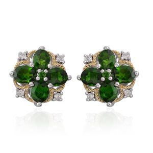 Russian Diopside, White Zircon 14K YG Over and Sterling Silver Stud Earrings TGW 3.41 cts.