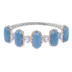 Burmese Blue Jade, Sky Blue Topaz 14K YG Over and Sterling Silver Bangle (8 in) TGW 57.60 cts.