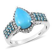 Arizona Sleeping Beauty Turquoise, Multi Gemstone Platinum Over Sterling Silver Ring (Size 7.0) TGW 3.73 cts.