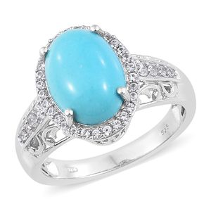 Arizona Sleeping Beauty Turquoise, Cambodian Zircon Platinum Over Sterling Silver Ring (Size 7.0) TGW 6.09 cts.