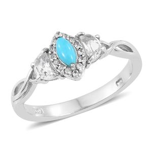 Arizona Sleeping Beauty Turquoise, White Topaz Platinum Over Sterling Silver Ring (Size 7.0) TGW 1.00 cts.