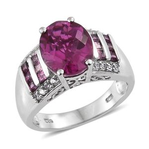 Radiant Orchid Quartz, Multi Gemstone Platinum Over Sterling Silver Ring (Size 7.0) TGW 5.98 cts.