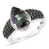 Northern Lights Mystic Topaz, Thai Black Spinel Black Rhodium & Platinum Over Sterling Silver Ring (Size 7.0) TGW 6.33 cts.