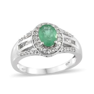 Brazilian Emerald, Cambodian Zircon Platinum Over Sterling Silver Ring (Size 5.0) TGW 2.00 cts.