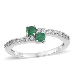 Brazilian Emerald, Cambodian Zircon Platinum Over Sterling Silver Bypass Ring (Size 7.0) TGW 0.70 cts.