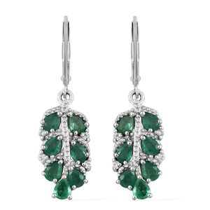 Brazilian Emerald, Cambodian Zircon Platinum Over Sterling Silver Lever Back Leaf Earrings TGW 2.11 cts.