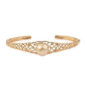 South Sea Pearl (11.5-12 mm) Vermeil YG Over Sterling Silver Openwork Woven Solitaire Cuff (7.25 in)