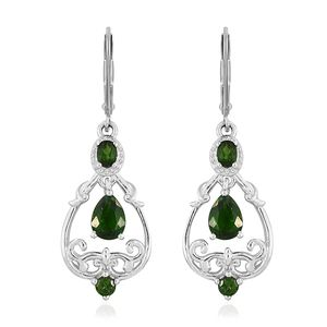 Russian Diopside Platinum Over Sterling Silver Lever Back Dangle Earrings TGW 2.25 cts.