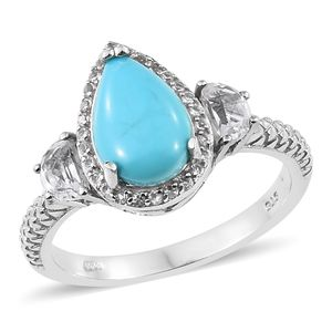 Arizona Sleeping Beauty Turquoise, White Topaz Platinum Over Sterling Silver Ring (Size 7.0) TGW 3.37 cts.
